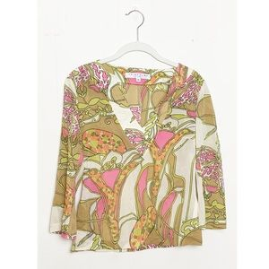 Trina Turk Floral Printed Silk Blouse Size Small